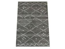 2X3 Modern Charcoal Moroccan Hand-Knotted Wool Area Rug Small Oriental Carpet