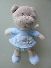 60- DOUDOU OURS TEX BABY CARREFOUR BEIGE BLEU TORTUE where are  27cms -  NEUF *