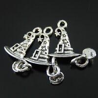 wholesale Antique Silver Alloy Magic Hat Charms Pendants Crafts Findings 30pcs