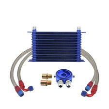 13 Row 10AN Universal Engine Transmission Oil Cooler Blue + Filter Adapter Kit