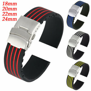Watch Strap Silicone Rubber Watchband Replacement Wrist Belt 18mm 20nn 22mm 24mm