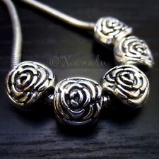 10PCs Wholesale Rose Flower European Beads - Floral Spacers For Charm Bracelets