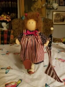 Retired Lizzie High Wood Doll 4th of July  - Marching with Flag USA 1991