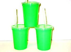Plastic Drinking Glasses, Lids, Straws, 12 Ounce, Pack 12 of each, Lime, Mfg USA