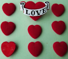 RED VELVET HEARTS - Love Valentine's Dress It Up Felt Flat-Backed Craft Buttons