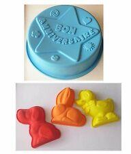 Lot de 4 Moules à gâteau silicone rigolo bon anniversaire Grand diamètre 25 cm