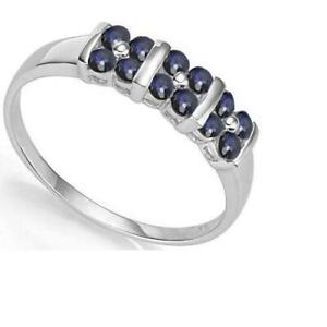 10K SOLID WHITE GOLD 0.45 CTW SAPPHIRE RING, UK-N