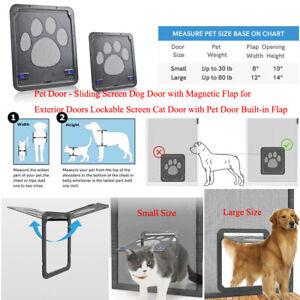 Pet Dog&Cat Door Automatic Flap Lockable Net Gate Screen Door Small Large Pets