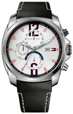 New Tommy Hilfiger Men Multi-Function Brown Leather Date Watch 45mm 1790834 $165