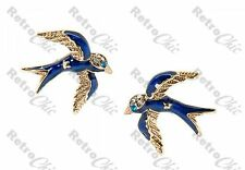 BETSEY JOHNSON blue bird studs SWALLOW STUD EARRINGS crystal RHINESTONE enamel