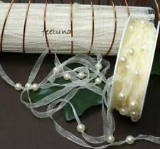 1m 5m 10m 20m 100m Perlenband Schleifenband Organzaband Perlen creme Hochzeit