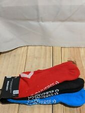 Converse Half Cushion Ultra-low Socks 3 Pack Size 6-12 Colors Blue Black Redish