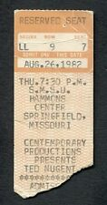 Original 1982 Ted Nugent concert ticket stub Springfield Mo Cat Scratch Fever