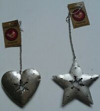 Sass & Belle Silver Snowflake Heart & Star Christmas Hanging Decoration 8x7cm
