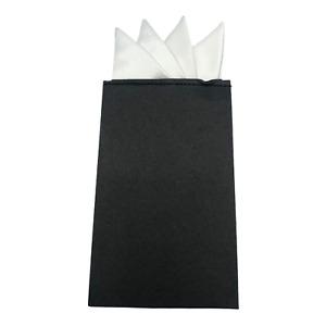 DEVPSISR Prefolded Pocket Square Men's Suit Handkerchief Keeper 4 Leaves White