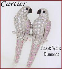 RARE CARTIER PLAT JEWELED PAIR LOVE BIRDS BROOCH  PINK & WHITE DIAMONDS  5.50tcw