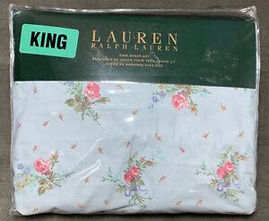 Vintage Ralph Lauren  BLUE GRAY & PINK ROSES King SHEET SET Floral