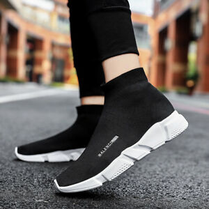 Men High Top Casual Shoes Women Breathable Socks Shoes Outdoor Fashion Sneakers