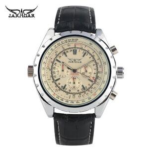 JARAGAR Calendar Leather Band Men Pilot Automatic Mechanical Wrist Watches reloj