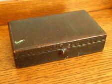 VINTAGE FAUX LEATHER EFFECT JEWELLERY KEEPSAKE BOX GREEN VELVET INSIDE