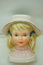 VINTAGE HEAD VASE LADY GIRL HAT PINK WHITE DRESS HEADVASE WREATH JAPAN BLONDE d