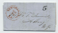 1854 New Orleans LA stampless letter large red CDS black 5 rate [5246.283]