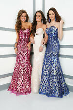 Tony Bowls Le Gala Prom Dress 116531 White/Pink Size 10 NWT