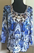 CHICO'S - FEATHER VIEWS AMALIA KNIT TOP - BLUE TANG  - CHICO'S SIZE 1 - 8/10