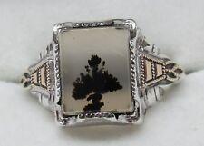 Antique SOLID 10K GOLD & Sterling Silver PICTURE AGATE Designer Ring (SIZE: 8.5)