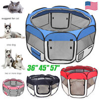 "36"" 45"" 57"" Pet Dog Cat Kennel Fence Puppy Playpen Exercise Portable Crate Cage"