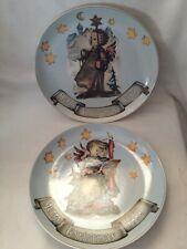 Hummel Goebel Collector Christmas Plates 1989 & 1988 Guiding Light & Angel Duet