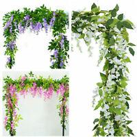 2x 7FT Artificial Wisteria Vine Garland Plants Foliage Flower Outdoor home de Bw