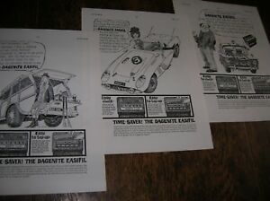 3 x 1960s Dagenite Battery adverts  Superb cartoon artwork   Very Collectable