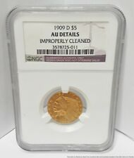 1909-D NGC AU Details $5 Five Dollar Indian Head Half Eagle Gold American Coin