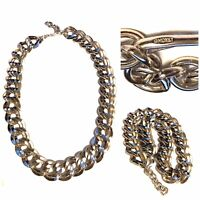 """Vintage Monet Silver Tone Chunky Curb Link Necklace 20"""""""