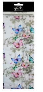 Glick Printed Patterned Luxury Tissue Paper 4 sheets Butterfly Trail Wedding