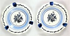 Blue Delft Two Ashtrays De Drietand White Porcelain Dutch Holland Hand Painted