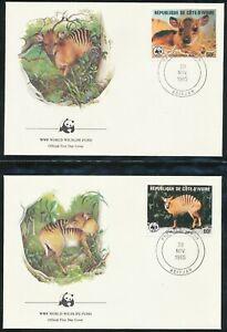 IVORY COAST FRANCE 1985 WWF FIRST DAY COVERS ANIMALS WILDLIFE NICE BIN PRICE £5