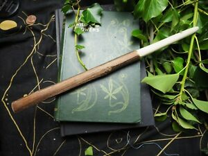 Hand-carved Avalon Willow Wand - Seership - with Bag - Pagan, Witchcraft, Wicca