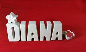 Beton, Steinguss Buchstaben 3D Deko Namen DIANA als Geschenk verpackt!