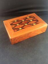 Fabuloso madera con incrustaciones de marquetería parqué de madera joyería caja de la baratija