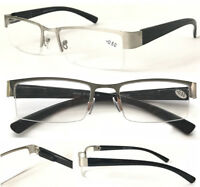 L417 Superb Mens' Semi Rimless Metal Reading Glasses/Spring Hinges Stylish Specs