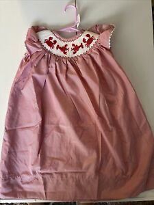 New Red and White Smocked Lobster And Crab Dress Size  18M
