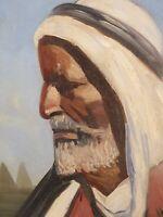 Portrait d'homme . Tableau orientaliste de Nandor Vagh-Weinmann ( 1897-1978 )