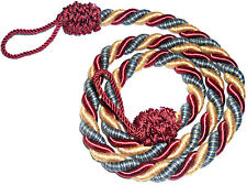 STUNNING SILKY TWISTED ROPE CURTAIN TIE BACKS, X2, VARIOUS COLS, ART 11429