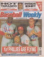 1995 Philadelphia Phillies Signed Baseball Weekly Magazine Len Dykstra C Hayes