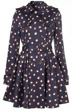 Topshop Iconic Navy Smudge Spot Belted VTG 50s Skirted Trench Coat Mac 10 6 38