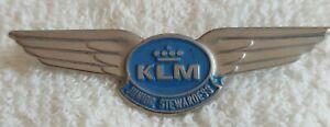 VINTAGE KLM DUTCH AIRLINES METAL WINGS JUNIOR STEWARDESS PIN BADGE