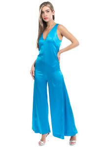RRP€635 PAPER LONDON Silk Satin Jumpsuit Size 6 XS Flared Leg Zipped Back V Neck