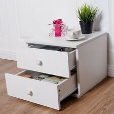Nightstand Bedside Cabinet End Table Bedroom Home Furniture with 2 Drawers White